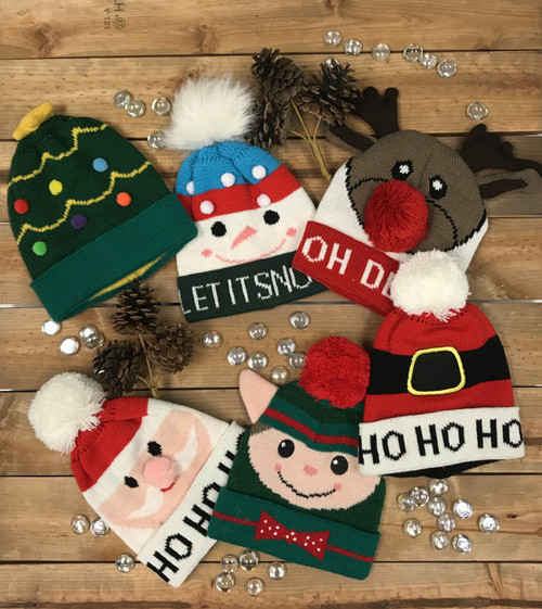 Assortment of fun kids Christmas toques