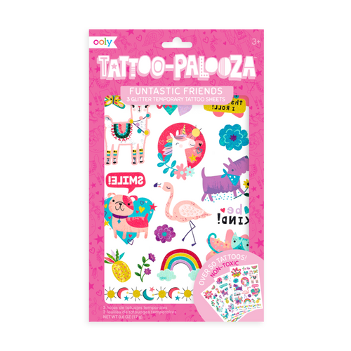 Ooly temporary tattoos funtastic friends in package