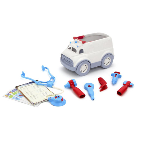 Contents of Green Toys ambulance and doctor kit
