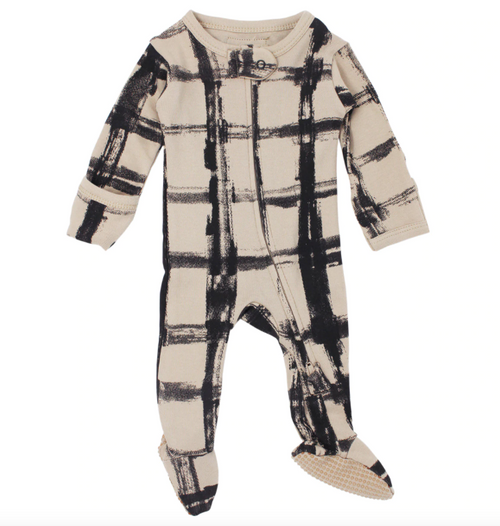 L'oved Baby Plaid Oatmeal footie pajama