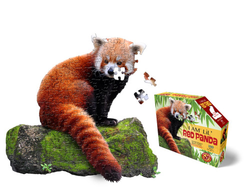 Madd capp 100 piece shaped red panda puzzle shown assembled next to box