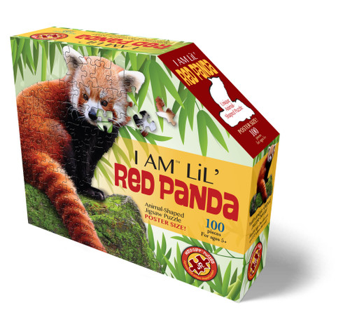 Red panda shaped 100 piece puzzle box