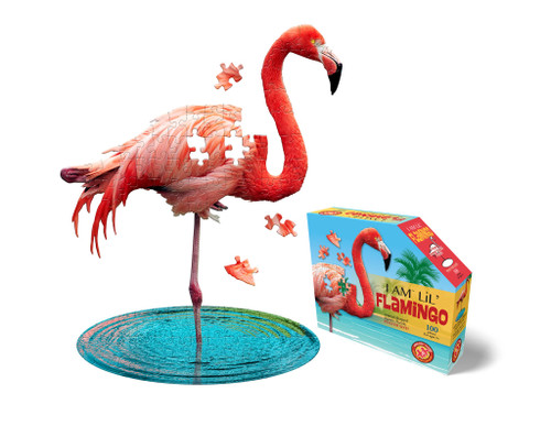 shaped flamingo puzzle shown assembled with box