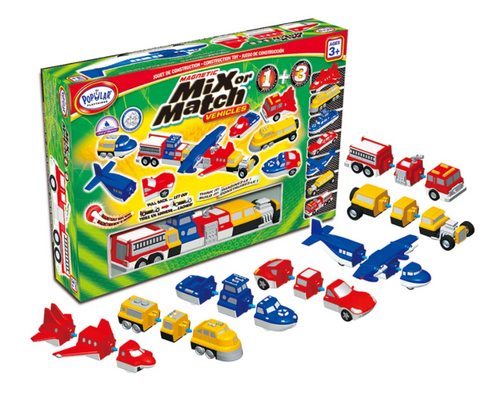Mix or Match vehicles set, contents shown in front of box