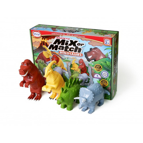 Mix and match dinosaurs shown in front of box