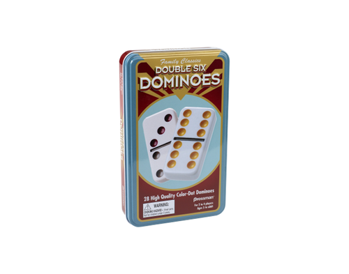 pressman double six classic dominoes in tin
