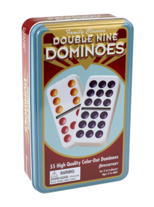 pressman double nine dominoes in tin