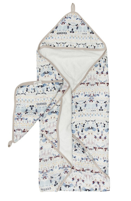 Loulou lollipop bamboo hooded baby towel set fair isle print