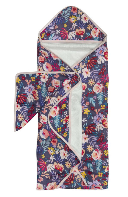 Loulou lollipop dark field flowers print bamboo hooded baby towel set