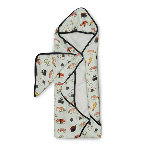 Loulou lollipop bamboo hooded towel set sushi print