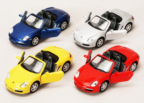 Schylling porsche boxter convertible die cast toy car, 4 colours shown