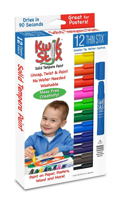 12 pack thin kwik sticks tempera paint, in box