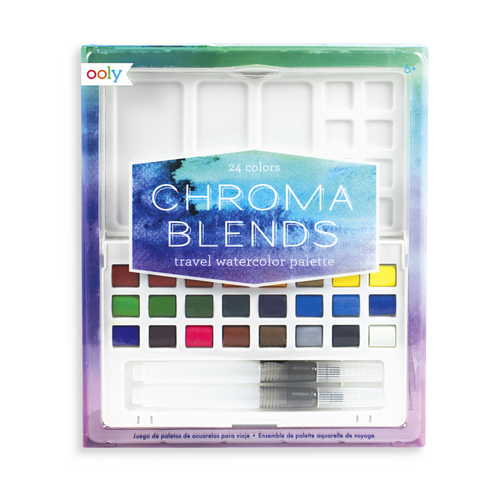Ooly chroma blends travel watercolour palette shown in package