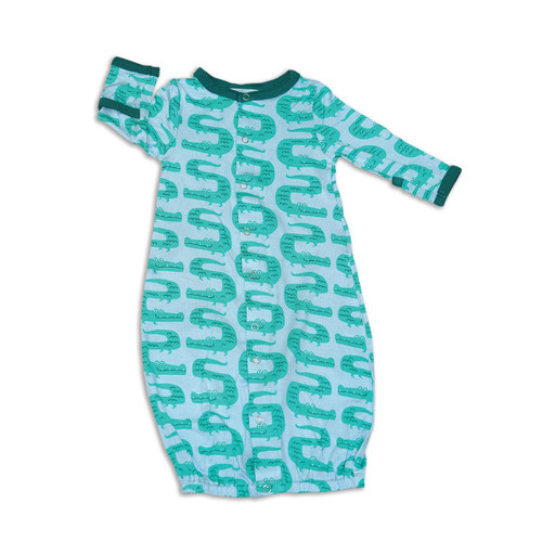 silkberry baby zig zag croc blue and green bamboo newborn gown