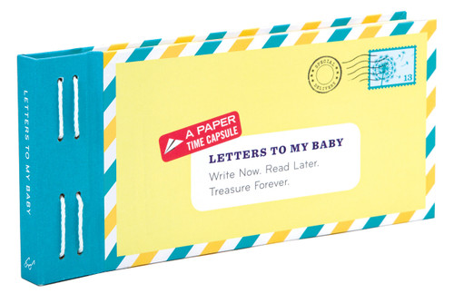 Letters to my Baby keepsake book cover shown, yellow and blue