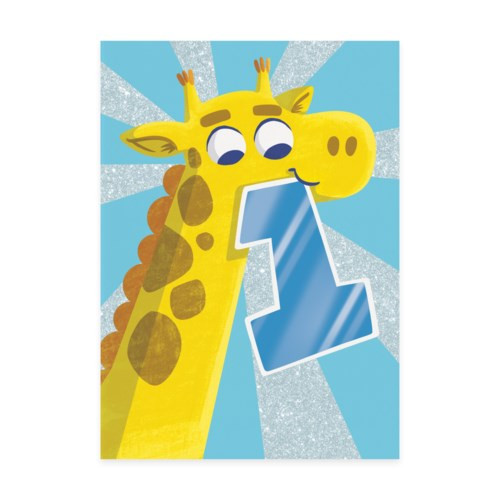 1st birthday card blue background with giraffe