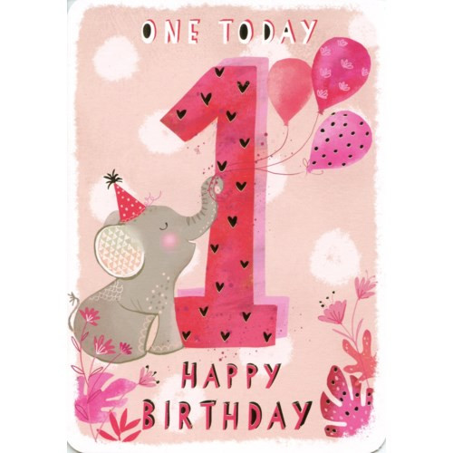 Pink background with elephant, one today birthday card