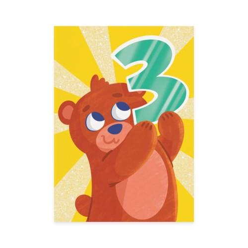 3rd birthday card yellow background with bear
