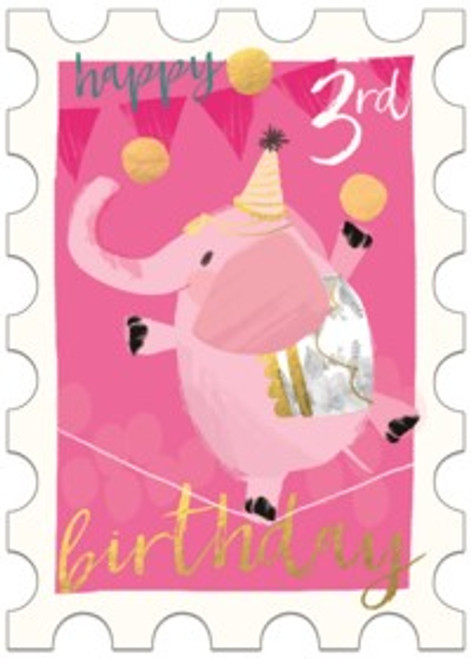 3rd birthday card, pink elephant on pink background