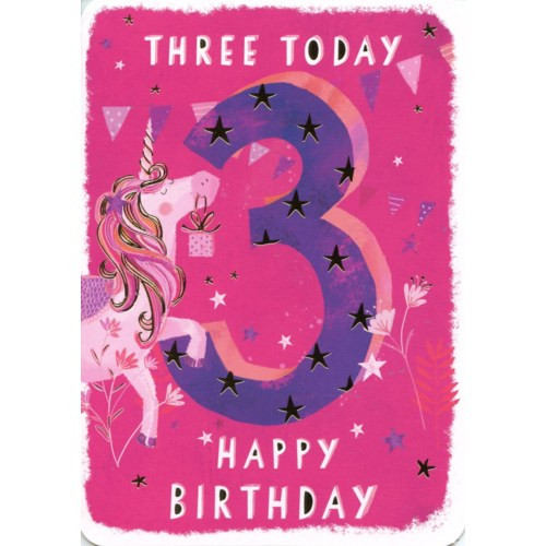 3rd Birthday card pink with pink unicorn