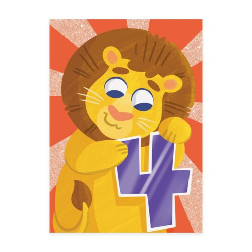 4th birthday card orange background with lion