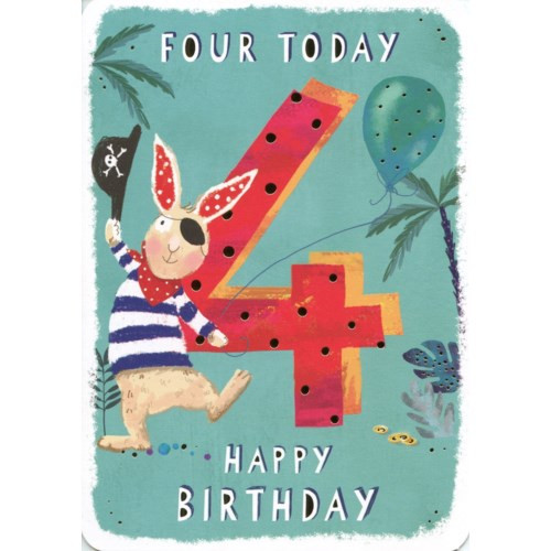 4th birthday card blue background with pirate bunny