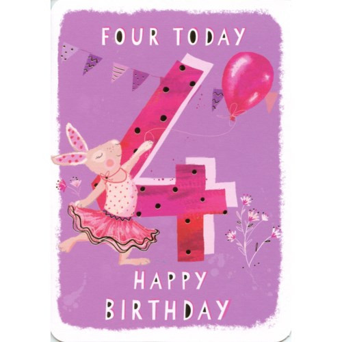 4th birthday card, pink background with bunny dressed in tutu