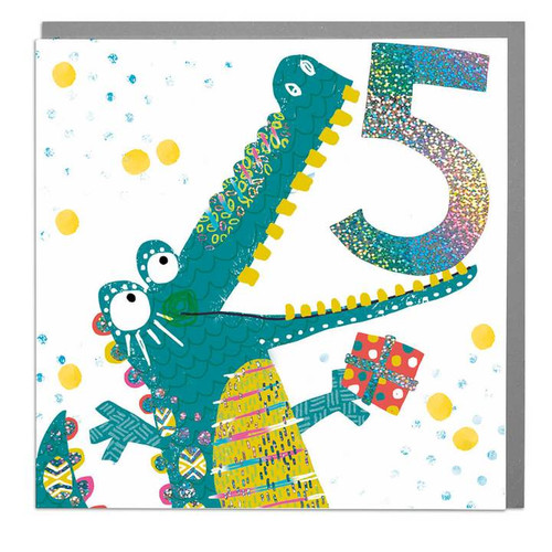 5th birthday card crocodile