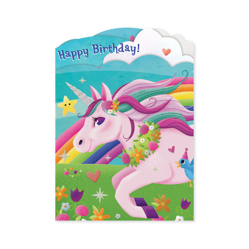 Peaceable Kingdom birthday card, unicorn and rainbow