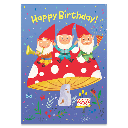 Peaceable Kingdom birthday card, gnomes on a giant mushroom with a blue backgound