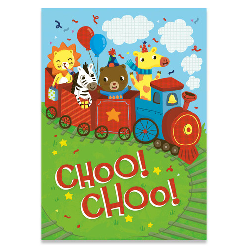 Peaceable kingdom birthday card, train filled with cartoon animals on a grassy hill