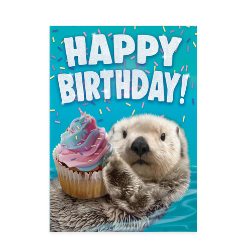 Peaceable kingdom birthday card, otter holding a cupcake with a blue background
