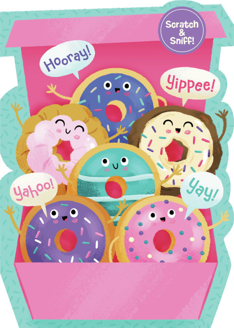 Peaceable Kingdom birthday card Pink with multicolour cartoon donuts