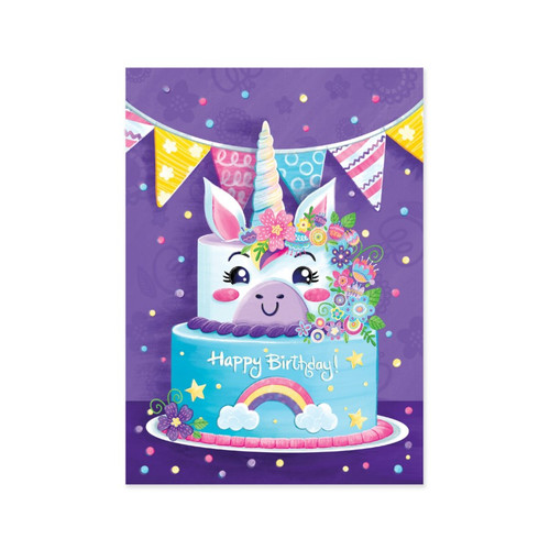 Peaceable Kingdom birthday card: unicorn themed birthday cake with purple background