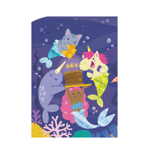 Mercreatures birthday card: purple background with a variety of mythical creatures