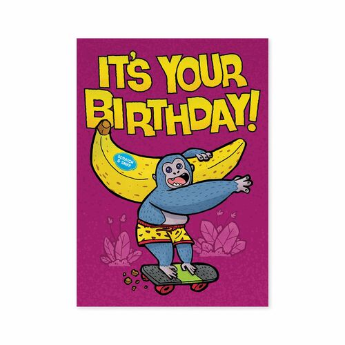 Banana scented birthday card, purple with monkey holding giant banana