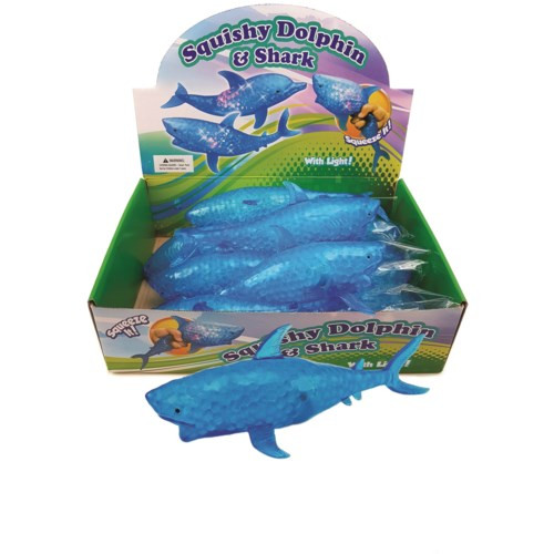 Blue squishy sharks that light up