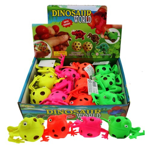 Displayer filled with neon coloured squishy frogs with bead balls