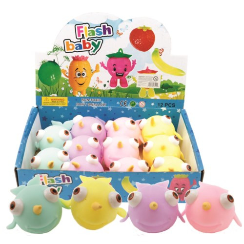 Displayer filled with colourful squishy narwhal toys