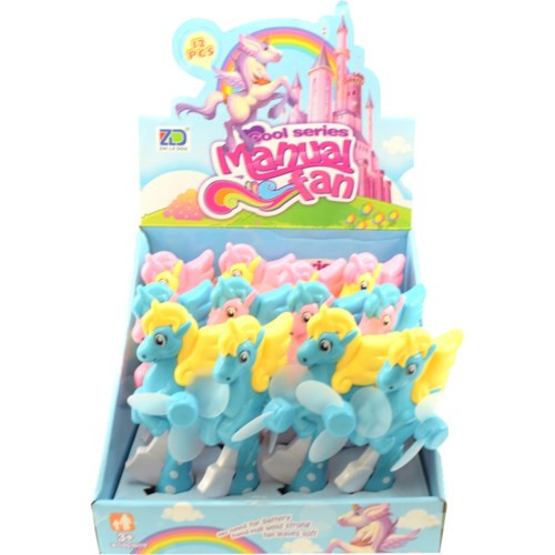 Displayer filled with colourful unicorn squeeze fans