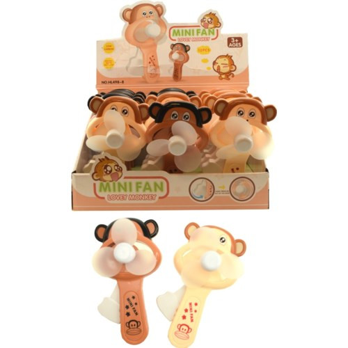 Monkey character squeeze fans shown with cardboard displayer