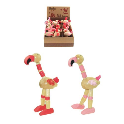 Two different shades of pink wooden flamingos with flexi joints