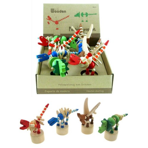 Wooden dinosaur push puppets, shown in cardboard display box