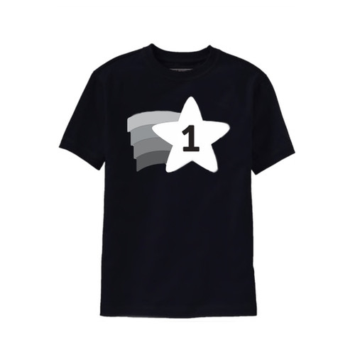 Black and white one year old birthday t shirt