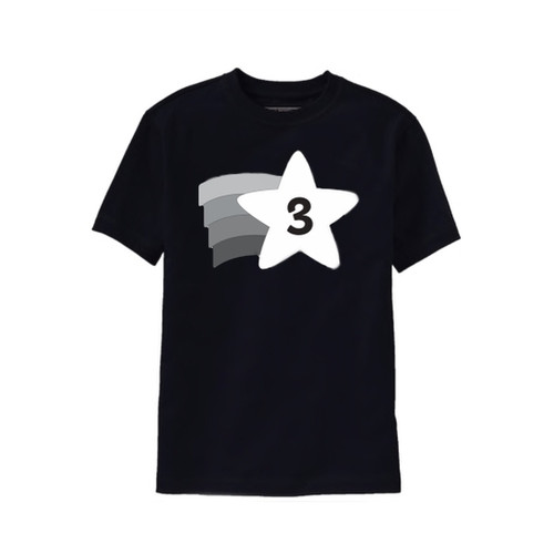 black and white third birthday t shirt