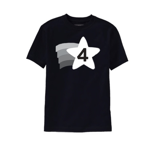 black and white 4th birthday tshirt
