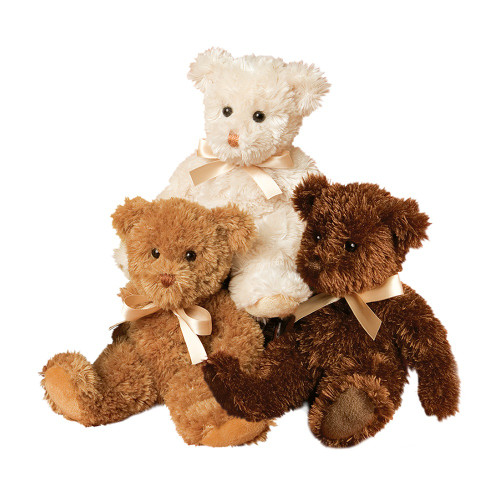 Caramel, ivory and brown teddy bears