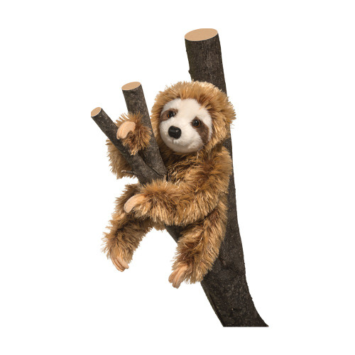 sloth plush toy seen posed on a tree branch