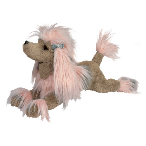 large stuffed poodle toy, soft brown and pink