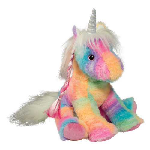 plush rainbow coloured unicorn